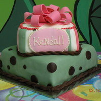 Kendall's 2Nd French Chocolate buttercream cake with chocolate filling covered in buttercream icing and fondant.
