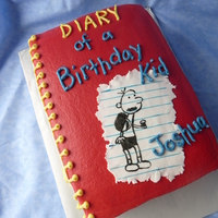 "Diary Of A Wimpy Kid Book Cake  All buttercream except sheet of ""notebook"" paper on front cover and tags on side of books. It was fun to make and thanks for the..."