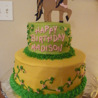Girl's Horse Birthday Cake Bottom layer is Ebony & Ivory cake filled with Cookies and Cream, small cake on top is Chocolate filled with Peanut Butter Cream. All...