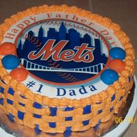 N.y Mets Father Day Cake   My husband is a big fan of the mets and my baby girl told me to do it hope that he like it .Carrot with butter cearm icing