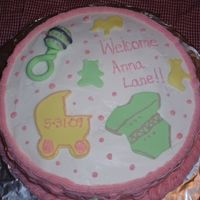 Baby Shower Cake Baby shower cake for a little girl. Sides have bastweave in pink, and fondant cutouts of animals.