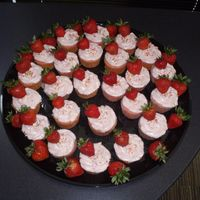 Strawberries Galore! These cupcakes are strawberry cake with strawberry creamcheese icing with fresh strawberries as decoration. They were yummy!