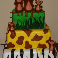 "Baby Monkies (Jungle Themed Baby Shower) Inspired by cc user reenie ""Monkey Babies"" cake6 inch, 8 inch, 10 inch round cake decorated for a jungle themed baby showerAll..."