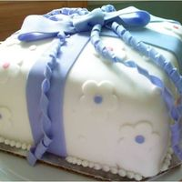 Wilton Course 3 Cake Yellow cake covered in fondant. Strawberry buttercream filling. TFL