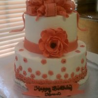 Fashion Flower Butter cake with buttercream icing. MMF decorations