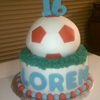 Soccer Ball Sweet 16 Butter cake, vanilla buttercream. Ball is covered in fondant and cut out each hexagon and pentagon for the ball. Bottom layer is...
