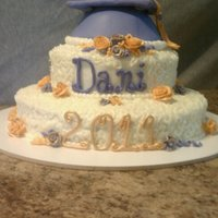 Elegant Grad   Cream cheese icing, red velvet cake. Fondant cap and lettering and scrolls.