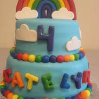 Rainbow And Hearts Birthday Fun Cake Gumpaste rainbow I did days in advance and put skewers in the bottom of each half to be able to stick it onto the cake. Took FOREVER to...