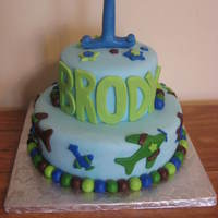 Cool Blues Airplane Cake MMF covered... used two airplane cookie cutters I found at a cake store to do the airplanes...