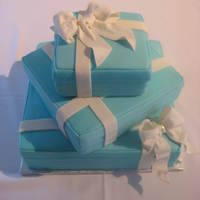 Tiffany Blue Wedding Cake MMF covered and gumpaste bow.