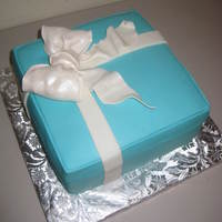 Tiffany And Co. Box Within A Box Birthday Cake! This was my first Tiffany box cake, and hopefully not my last! The mom had me put the ring box for her daughter down inside the cake, which...