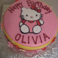 Hello Kitty Girly Cake Gumpaste cut-out and painted/colored hello kitty on top~fondant flowers and MMF covered.