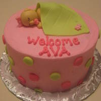 Welcome Baby Ava! Gumpaste baby~got the idea from this website! Buttercream covered with fondant polka dots and blanket. Thanks so much for looking! This was...