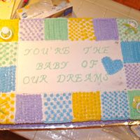 Quilt Baby Shower Cake  This was for a friend @ church having a baby shower and even though her baby is a girl, she did not want anything Pink on the cake! All...