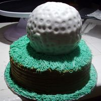 Prov1 Golf Cake - Happy Birthday Babe!   Chocolate pound cake covered with BC and MMF.The tricky part was making the golf ballIt was a lot of fun though..Thanks CC for the idea