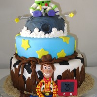 "Toy Story Cake I pretty much copied this design from ""3 SheetCakes"" on this website, except I made the characters, it was fun but the characters..."