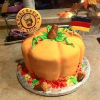Oktoberfest Cake made this for a friends Oktoberfest party, pumpkin spice cake with cream cheese frosting, all decorations are MMF