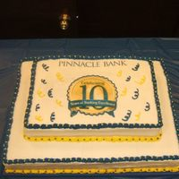 10Th Anniversary Bank Cake This is the biggest cake I have ever done! Bottom was 18x24... Top was 12x18. The cake weighed about 60 lbs. Half chocolate and half...