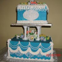 Wilton Cake Class 3 Final I used foam dummie cakes again. Blue is butter cream, white is royal, and fondant flowers. I tried to put everything we learned in class...
