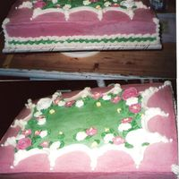 Bridal Shower Cake/pink/green This design was requested by the bride's mother. She got the idea from the internet. Buttercream icing with royal icing flowers (...