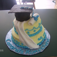 College Graduation Cake This is a cake I made for a college graduation. The cap, scroll, and drape is made of fondant. The rest is buttercream. I still have a hard...