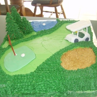 Golf Course Cake I made this cake for my friends birthday. He loves golf. The trees are ice cream cones covered in fondant. The golf cart is fondant. The...