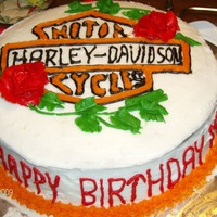 Harley Davidson Birthday Cake I made this cake for my sister in laws birthday. It came out pretty good. I still need to work on the lettering though.