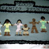 Family Reunion This was a fun cake to do. The color theme was grey and black. The people were made out of fondant. thanks for looking.