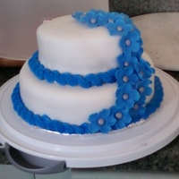 Blue And White I made this for a friend's birthday back in January. The cake is chocolate with chocolate buttercream (VERY rich), covered in rolled...