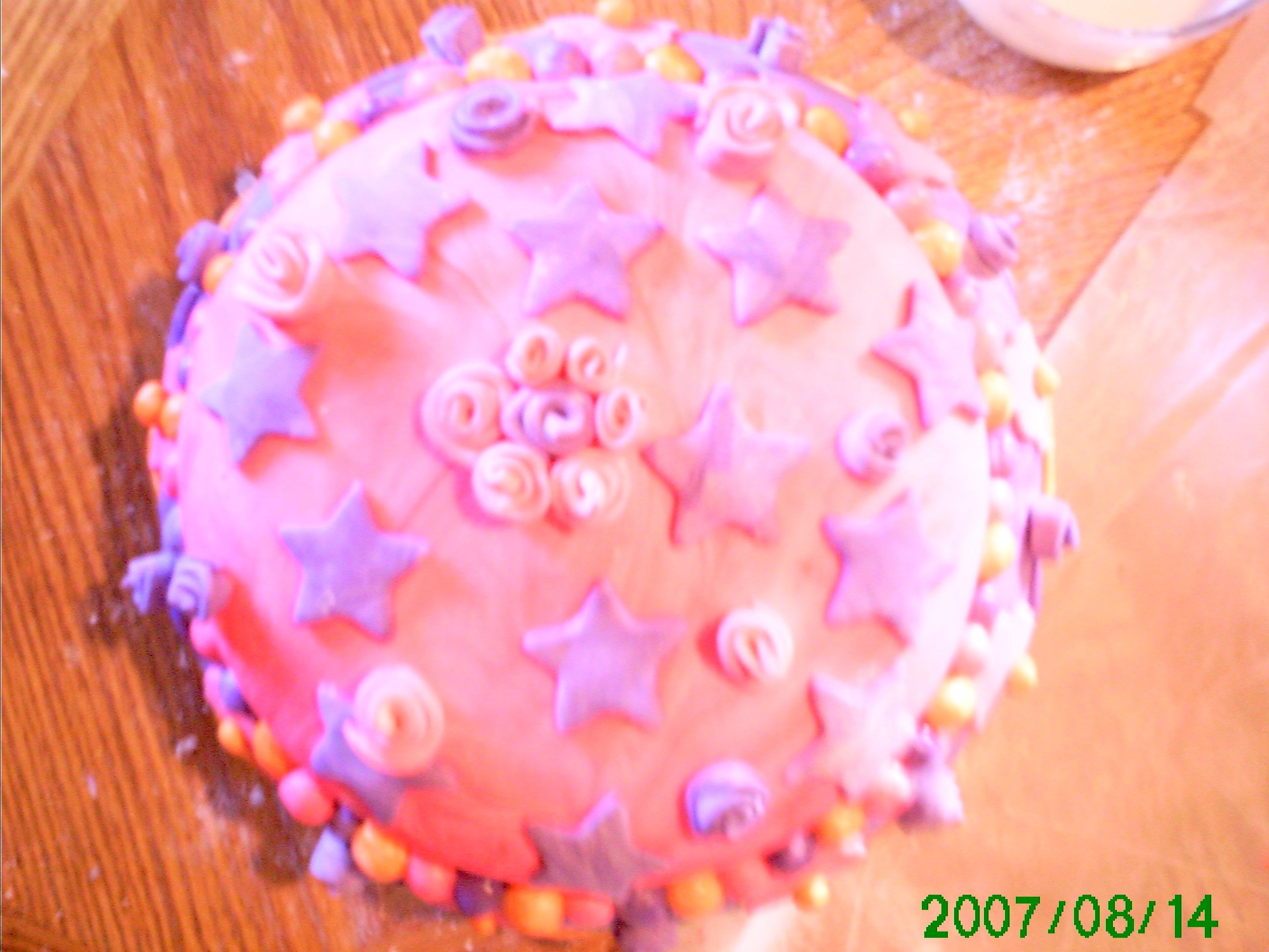 First Fondant Cake! Pink And Purple For Princess Evie :)!