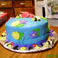 Bee_Cake_2_004.jpg This is a cake (my 3rd ever fondant!) I made for my church's every fifth sunday dinner with all our surrounding churchs' for fun...