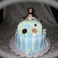Monkey Themed Baby Shower  This is a chocolate cake with vanilla butter cream filling. Everything is made out of fondant. The top half is my first attempt at a pillow...