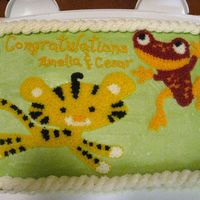 Jungle Animal Baby Shower Cake Baby shower cake for my friend. They have a jungle theme nursery and she loves frogs.