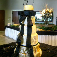 "Golden Damask Wedding The happy couple LOVED their cake! It is a 10"" brownie, 8"" chocolate cake, 6"" chocolate cake and 4"" brownie. All with..."