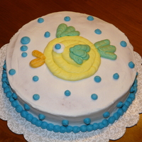 Fish Cake Cake I made for the first night's class of Wilton's Decorating Basics.