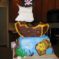 Philip's Pirate Ship I was so excited about this cake-it was for my son's 3rd birthday, and he was really in to pirates. It really turned out (almost)...