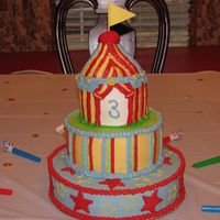 Aidan's Circus Big Top This was for a friend's little boy's 3rd birthday. Vanilla cake with lemon cream filling and vanilla-almond buttercream. All...
