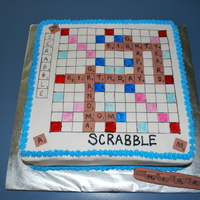 "80Th Birthday Scrabble Cake 80th birthday scrabble cake. 12"" square cake covered with fondant. Tiles are made from fondant/gumapste."