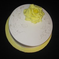 Yellow Rose With Piping.