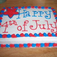 4Th Of July Cake   Chocolate cake filled and iced with all butter BC.