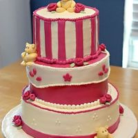 A Beary Raspberry Baby Shower Three tier buttercream with MMF accents. Bears were 50/50. Colors were raspeberry, sage,and light gold. For the raspberry I mixed wilton&#...