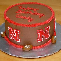 Nebraska Corn Huskers This is a cake for a Nebraska Fan's B-day. pretty self explanitory ;) chocolate buttercream and MMF footballs & logos