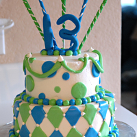 A Green Thirteen buttercream version of my previous neon sixteen cake. spirals and 13 were strait gumepaste. I was afraid for this cake, it's so humid...