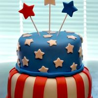 July 4Th Flag Cake 4 layer two tier Fourth of July flag cake for a family reuinion, made with Marshmallow fondant