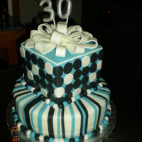 Contemporary Birthday Cake  This cake had a round 12 inch bottom tier (2 layers of cake) with a square 8 inch top tier (3 layers of cake). The cake was vanilla/white...