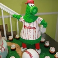 Phillies Phanatic Cake! I am not a fan of sports and the closest I have ever gotten to a stadium is the restaurant supply store right across the football field...