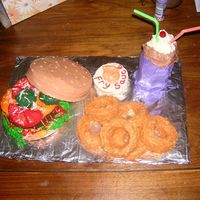 Fast Food Meal I made this for a Boy Scout cake auction. It was my first attempt at a theme cake. All buttercream icing.