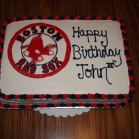 Boston Red Sox Birthday Cake All buttercream frosting with strawberries in the middle of the cake. TFL