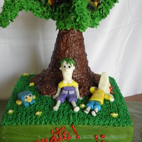 Phineas & Ferb Rollercoaster Episode Tree made of rice krispy treats. Rollercoaster/Phineas/Ferb/Perry made of chocopan. Buttercream icing.