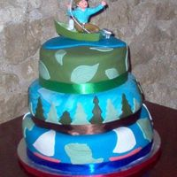 "The Great Outdoors 3 tiered chocolate cake. Decorated in an ""outdoors"" theme."